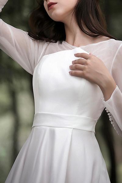 Elegant Long Sleeve Satin A-line Wedding Dress_8