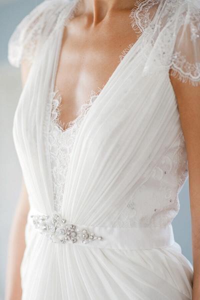 Cap Sleeve Ruffle Lace Chiffon Sheath Wedding Dress_7