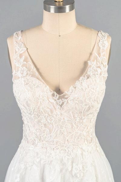 V-neck Appliques Tulle A-line Wedding Dress_7