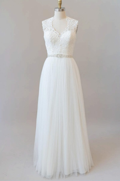 Amazing Beading Lace Tulle A-line Wedding Dress_1