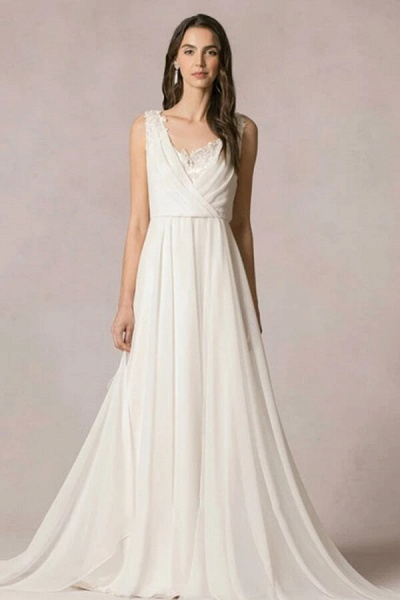 Open Back Ruffle Lace Chiffon A-line Wedding Dress_1