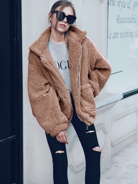 Winter Fashion Going out Basic Regular Faux Fur Coat_19