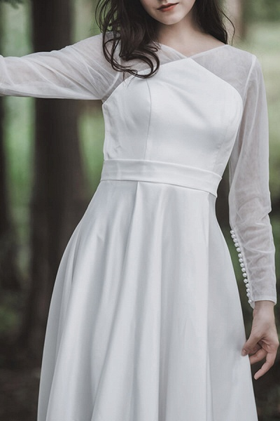 Elegant Long Sleeve Satin A-line Wedding Dress_7