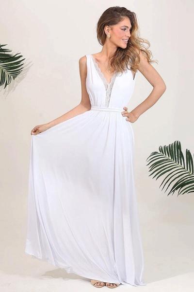 Open Back V-neck Lace Chiffon A-line Wedding Dress_1
