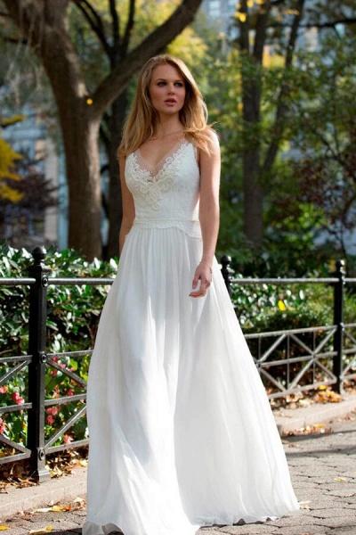 Latest Elegant Lace Chiffon A-line Wedding Dress_1