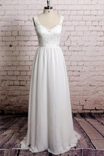 Awesome V-neck Lace Chiffon A-line Wedding Dress_1