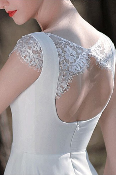 Chic Cap Sleeve Lace Chiffon A-line Wedding Dress_13