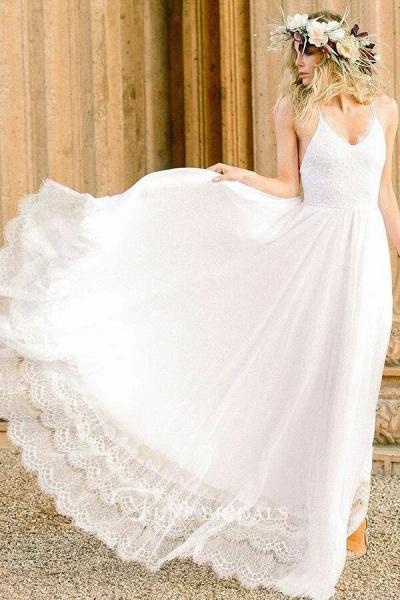 Amazing Spaghetti Strap Lace Chiffon Wedding Dress_9
