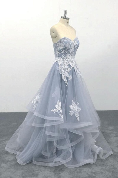 Amazing Strapless Lace Tulle A-line Wedding Dress_4