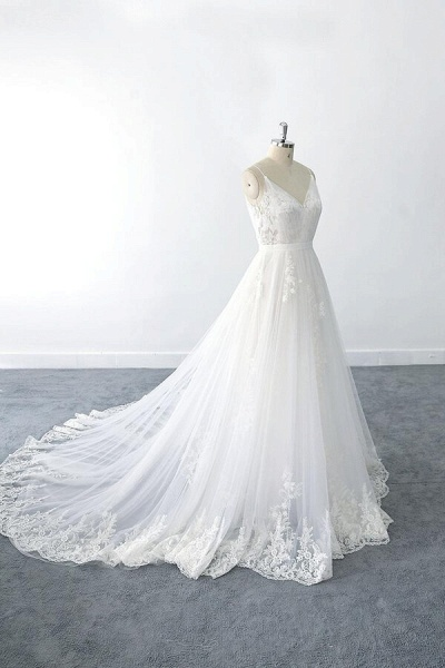 Amazing Ruffle Appliques Tulle A-line Wedding Dress_5