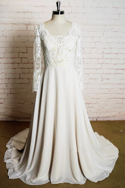 Appliques Long Sleeve Chiffon A-line Wedding Dress