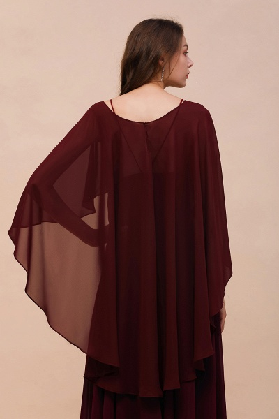 BM1087 Chiffon Burgundy Long Special Occasions Wrap_3