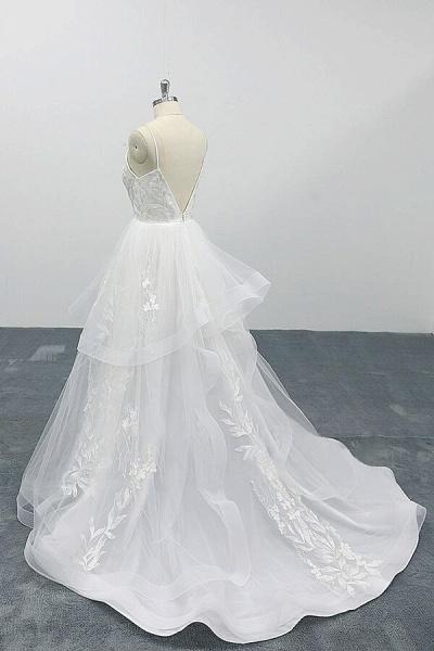 Best Appliques Spaghetti Strap Tulle Wedding Dress_5