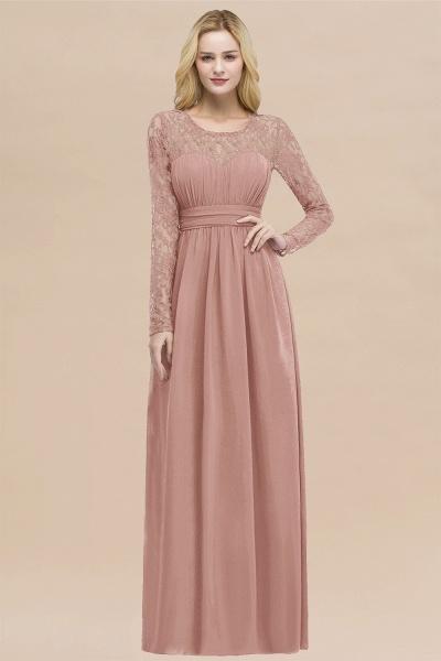 Elegant A-Line Chiffon Jewel Long Sleeves Ruffles Floor-Length Bridesmaid Dresses_50