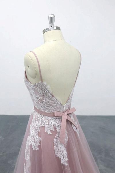 Lace Tulle Spaghetti Strap A-line Wedding Dress_7