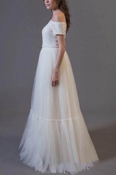 Off Shoulder Lace Tulle A-line Wedding Dress_4