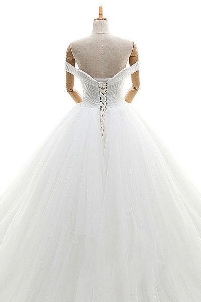Lace-up Off Shoulder Ruffle Tulle Wedding Dress_6