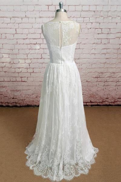 Graceful Illusion Lace A-line Wedding Dress_3