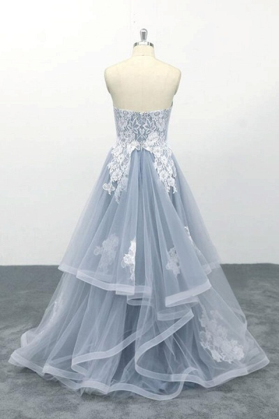 Amazing Strapless Lace Tulle A-line Wedding Dress_3
