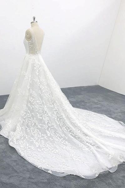 Elegant V-neck Appliques Tulle A-line Wedding Dress_4