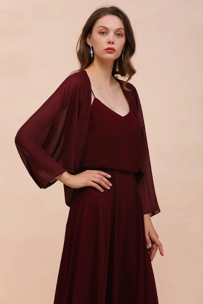 BM1088 Burgundy Long Sleeves Chiffon Special Occasions Wrap_4