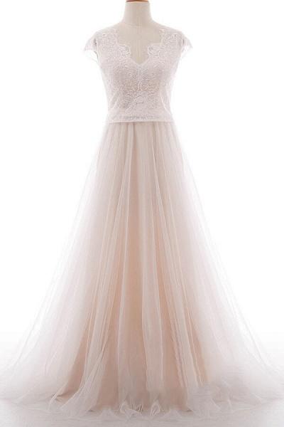 Graceful V-neck Lace Tulle A-line Wedding Dress_1