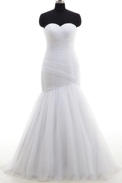 Strapless Ruffle Tulle Mermaid Wedding Dress_1