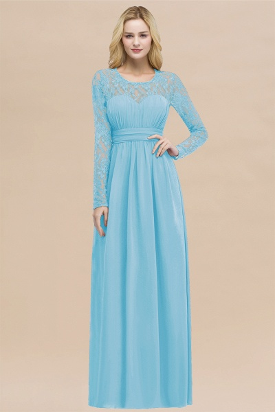 Elegant A-Line Chiffon Jewel Long Sleeves Ruffles Floor-Length Bridesmaid Dresses_24