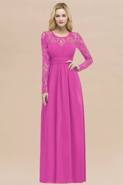 Elegant A-Line Chiffon Jewel Long Sleeves Ruffles Floor-Length Bridesmaid Dresses_9