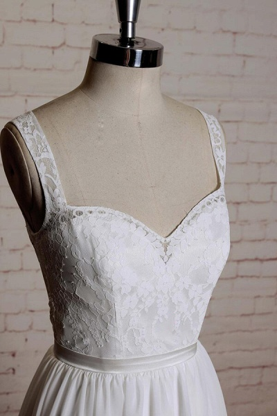 Sweetheart Lace Chiffon A-line Wedding Dress_5