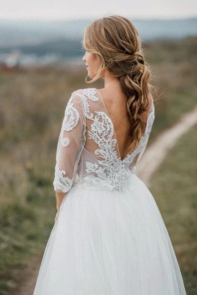 Graceful Illusion Tulle A-line Wedding Dress_4