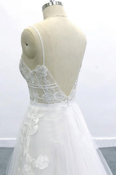 Best Spaghetti Strap Appliques Tulle Wedding Dress_6