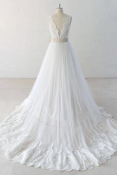 Elegant V-neck Lace Tulle A-line Wedding Dress_3