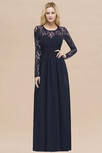 Elegant A-Line Chiffon Jewel Long Sleeves Ruffles Floor-Length Bridesmaid Dresses_28