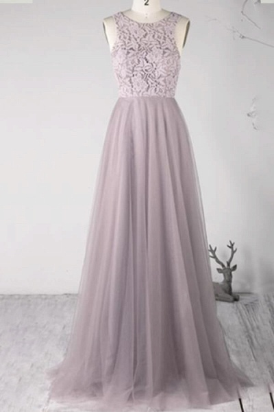 Awesome Lace-up Lace Tulle A-line Wedding Dress_2