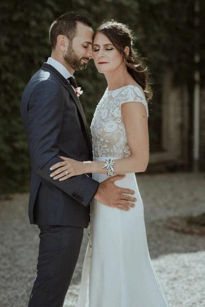 Cap Sleeve Open Back Lace Sheath Wedding Dress_7