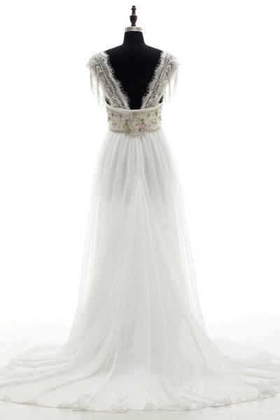 Amazing V-neck Beading Chiffon A-line Wedding Dress_3