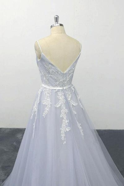 Applique Tulle Spaghetti Strap A-line Wedding Dress_7