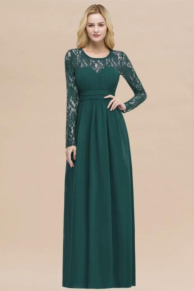Elegant A-Line Chiffon Jewel Long Sleeves Ruffles Floor-Length Bridesmaid Dresses_33