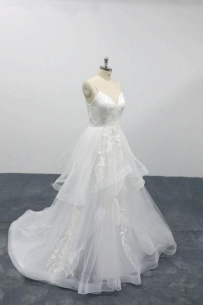 Best Appliques Spaghetti Strap Tulle Wedding Dress_4