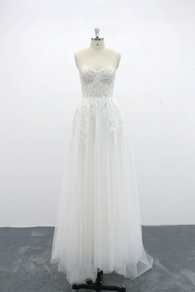 Appliques Strapless Tulle A-line Wedding Dress_4