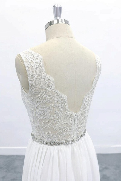 Awesome V-neck A-line Lace Chiffon Wedding Dress_7