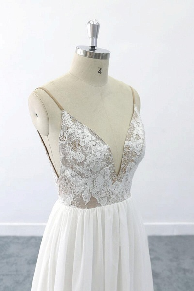 Graceful V-neck Lace Chiffon A-line Wedding Dress_6