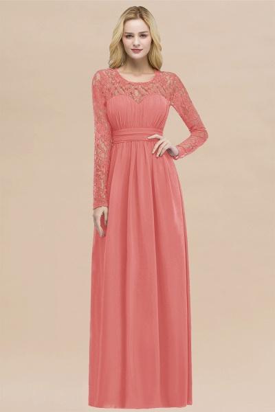 Elegant A-Line Chiffon Jewel Long Sleeves Ruffles Floor-Length Bridesmaid Dresses_7
