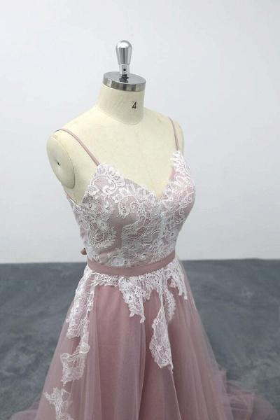 Lace Tulle Spaghetti Strap A-line Wedding Dress_6