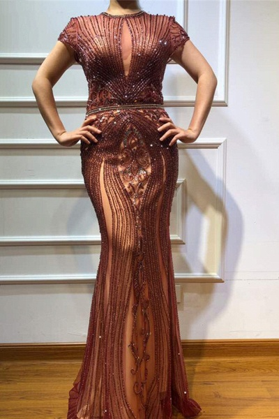 Wonderful Jewel Satin Mermaid Prom Dress_2