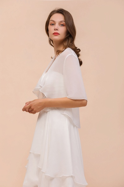BM1061 White Short Sleeves Chiffon Special Occasions Wraps_9