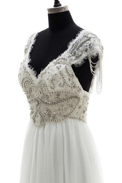 Amazing V-neck Beading Chiffon A-line Wedding Dress_5