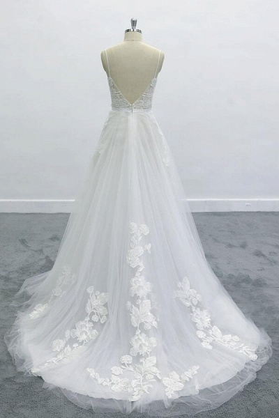 Best Spaghetti Strap Appliques Tulle Wedding Dress_3