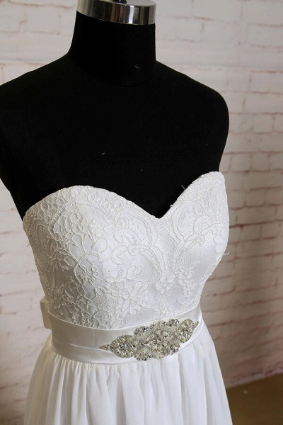 Strapless Lace Chiffon A-line Wedding Dress_4